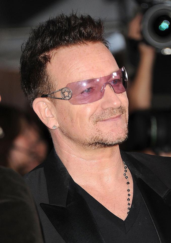 "Bono's sunglasses probably cost more than most people's cars, but if we're being honest ... they're ladylike and look like they came from the sale bin at Claire's. Jason Merritt/<a href=""http://www.gettyimages.com/"" target=""new"">GettyImages.com</a> - September 8, 2011"