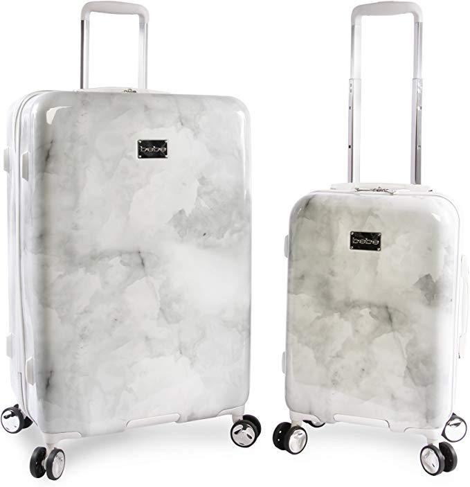Bebe Lilah 2 Piece Set Suitcase with Spinner Wheels, Silver Marble (Credit: Amazon)