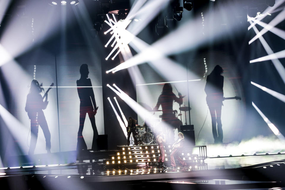 Maneskin from Italy perform during rehearsals at the Eurovision Song Contest at Ahoy arena in Rotterdam, Netherlands, Friday, May 21, 2021. (AP Photo/Peter Dejong)