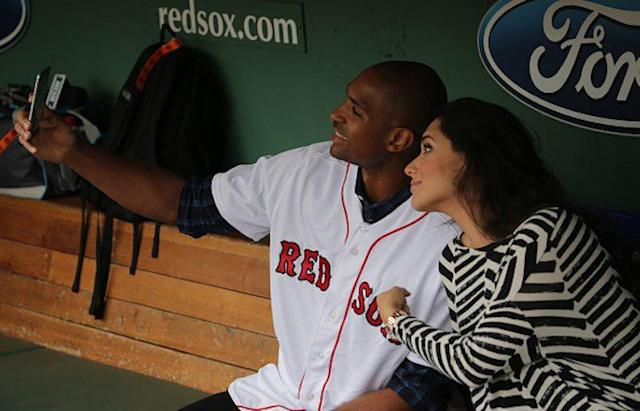 """Celtics big man <a class=""""link rapid-noclick-resp"""" href=""""/nba/players/4245/"""" data-ylk=""""slk:Al Horford"""">Al Horford</a> and his wife Amelia take a selfie prior to a Red Sox game this summer. (Getty Images)"""