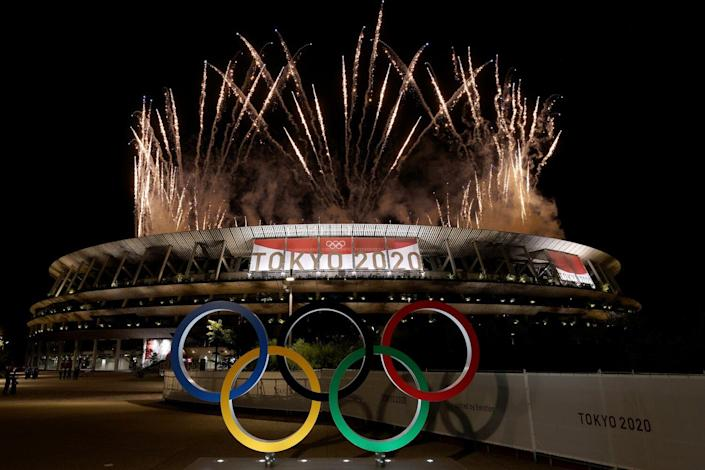 A general view outside the stadium as fireworks are let off during the Opening Ceremony