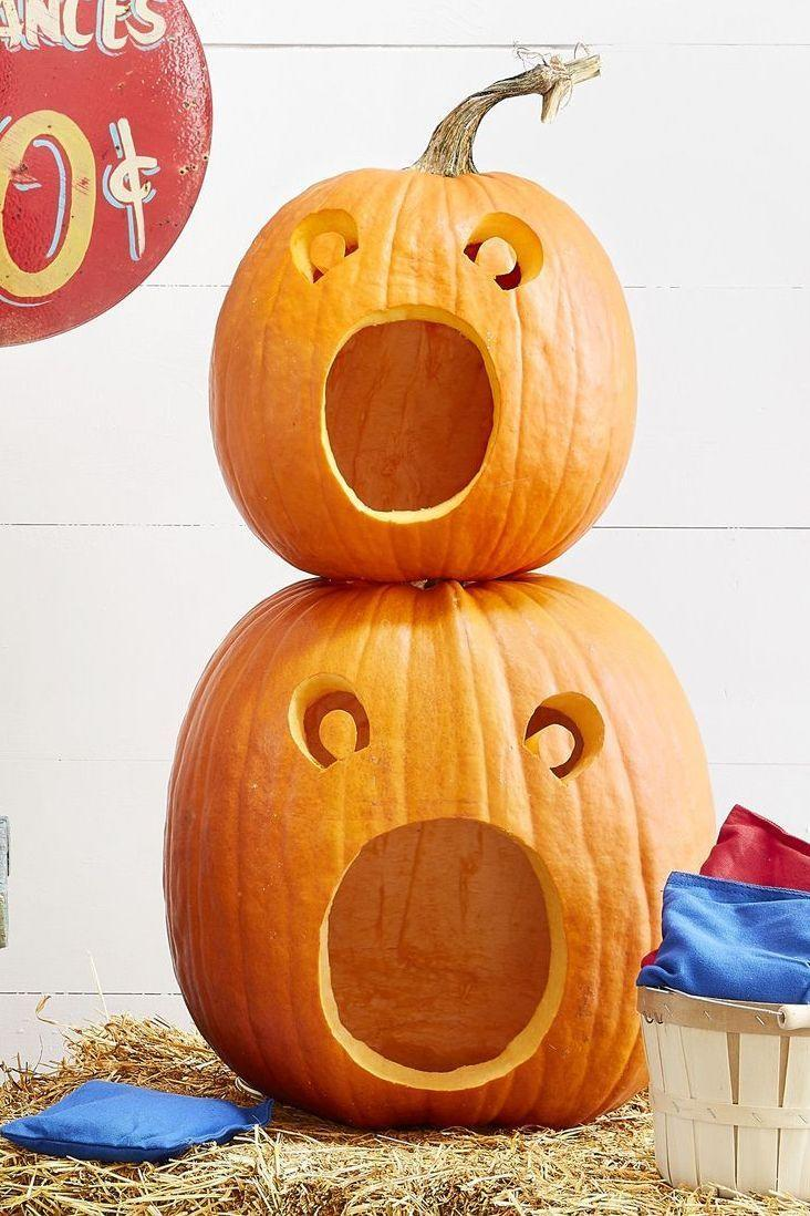 <p>Are they shocked, surprised, or terrified? You decide with these silly open-mouth pumpkin faces. Plus, they're super simple to make, with only three holes needing to be cutout. </p>