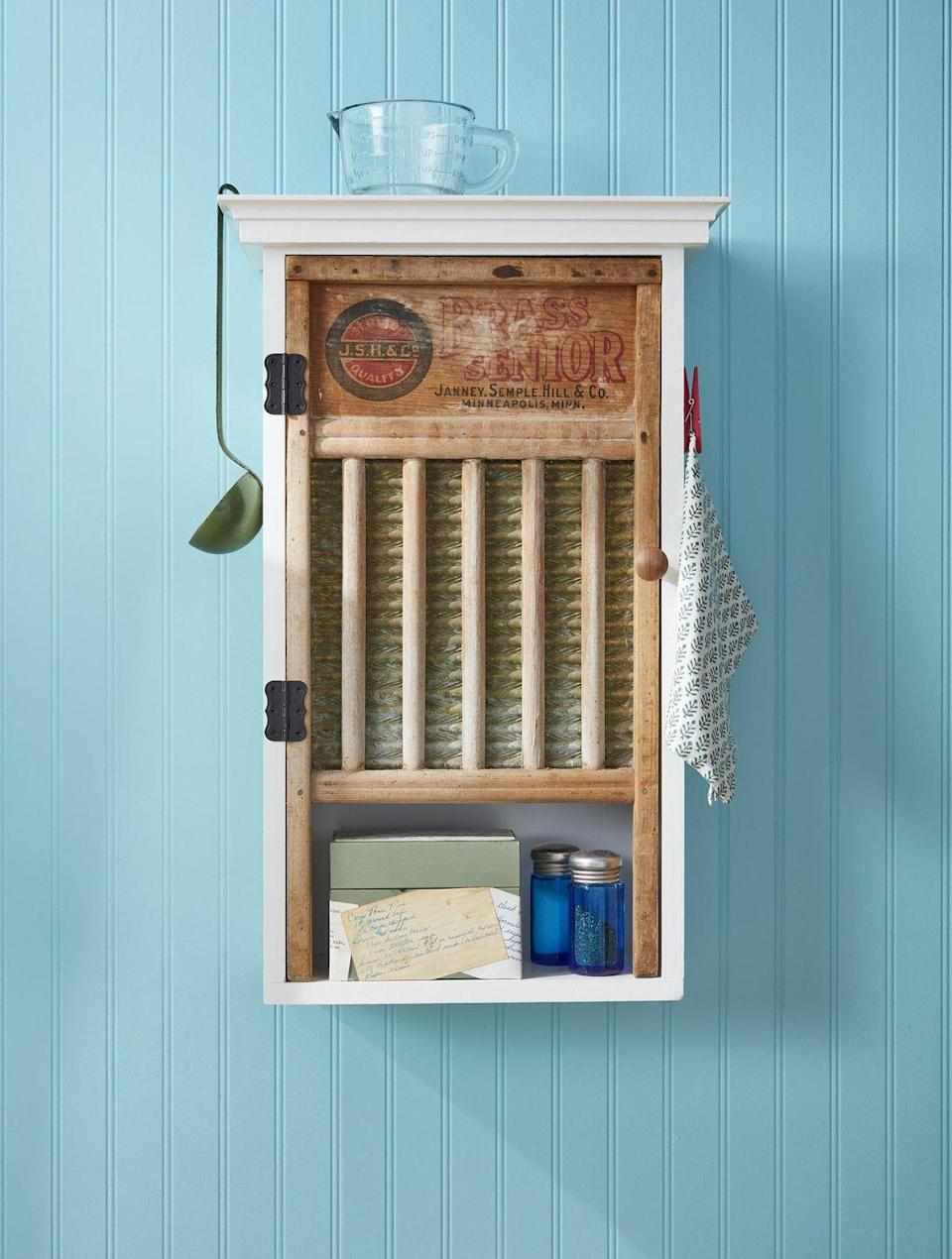 """<p>Store your staples in style in a custom made Washboard Cabinet.<br><strong><br>To make</strong>: Retrofit an existing cabinet (or build a new one) to fit a vintage washboard. Hang on the wall and use as a pint-sized pantry or medicine cabinet.<br><br><a class=""""link rapid-noclick-resp"""" href=""""https://go.redirectingat.com?id=74968X1596630&url=https%3A%2F%2Fwww.etsy.com%2Fsearch%3Fq%3Dwashboard&sref=https%3A%2F%2Fwww.countryliving.com%2Fdiy-crafts%2Fg23489557%2Fwinter-crafts%2F"""" rel=""""nofollow noopener"""" target=""""_blank"""" data-ylk=""""slk:SHOP WASHBOARDS"""">SHOP WASHBOARDS</a></p>"""
