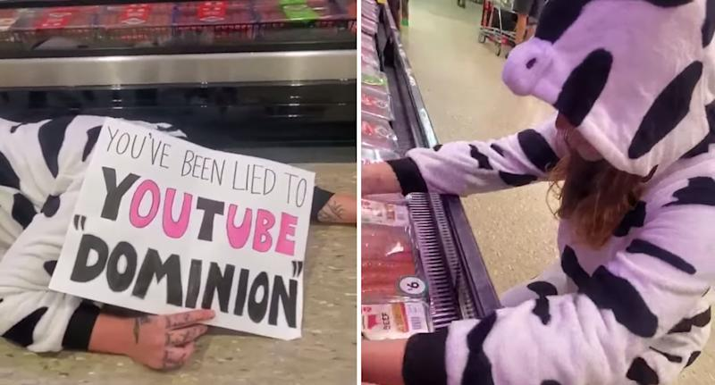Photo of a vegan dressed in a cow onesie performing activism in a Perth Woolworths store.