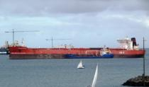 """Oil tanker Elisabeth Knutsen, later relabeled as """"Knut"""", is seen anchored off Las Palmas, near the Canary Islands"""