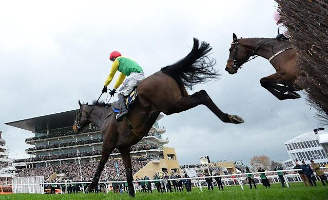 Jockey Robbie Power on Sizing John jumps the final hurdle to win the Gold Cup on the final day of the Cheltenham Festival horse racing meeting at Cheltenham Racecourse in Gloucestershire, south-west England, on March 17, 2017 (AFP Photo/Glyn KIRK )
