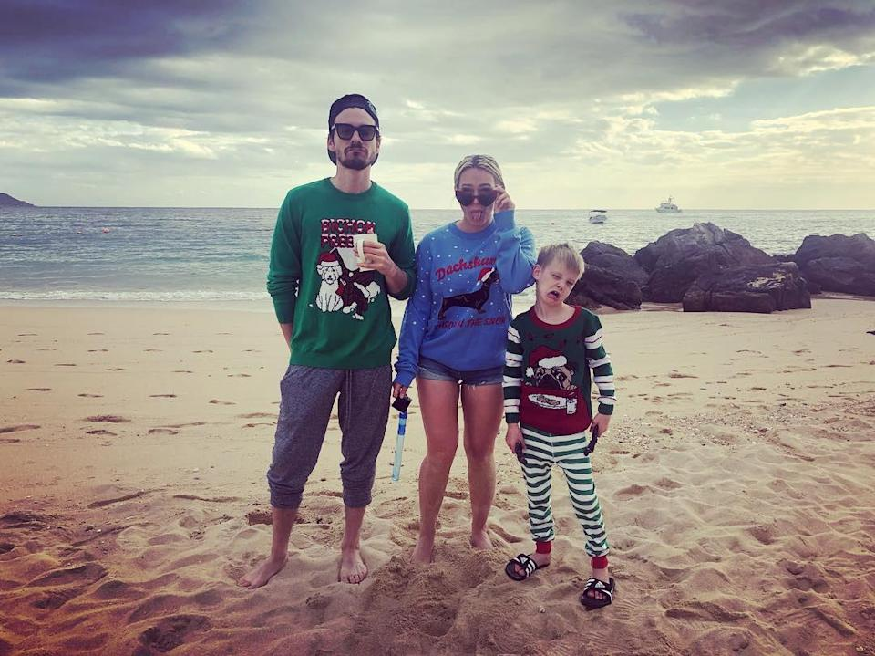 <p>Koma, Duff and her son Luca — whom she shares with ex-husband Mike Comrie — spent Christmas in the sand in 2018. </p>