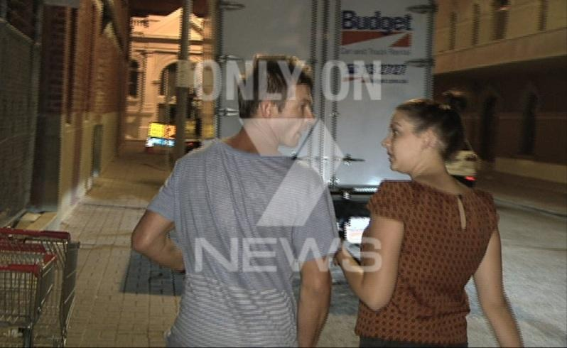 Ben Cousins outside the Fremantle Police Station. Picture: Seven News