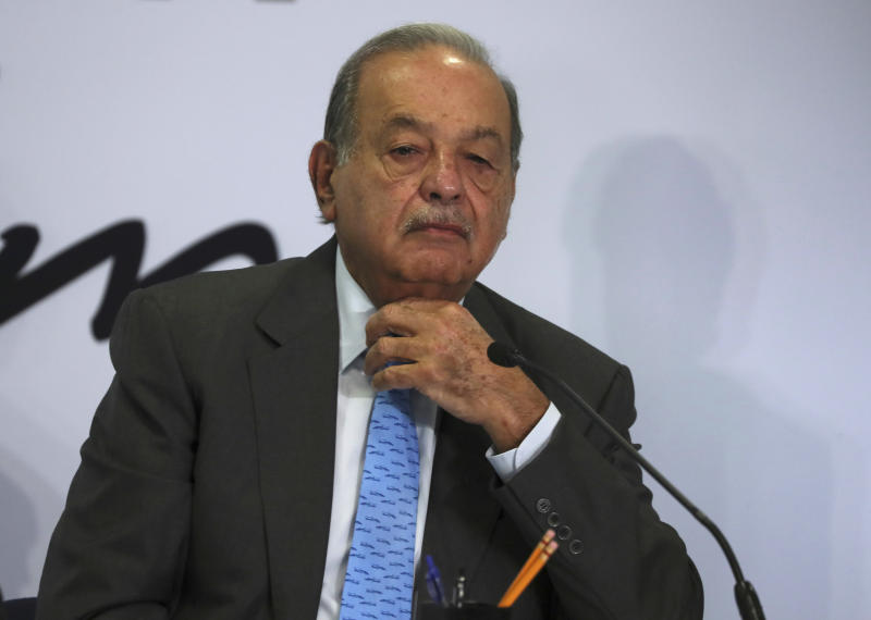 Mexican billionaire Carlos Slim listens to a question during a news conference at his office in Mexico City, Wednesday, Oct. 16, 2019. Slim says he supports President Andrés Manuel López Obrador's objectives. (AP Photo/Fernando Llano)