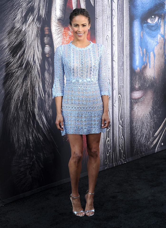 "<p>Robin Thicke's ex looked absolutely incredible on the ""Warcraft"" red carpet in this shimmering pale blue Martha Medeiros minidress. <i>(Photo by Gregg DeGuire/WireImage)</i></p>"