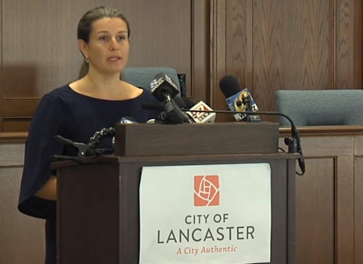Lancaster Mayor Danene Sorace speaks with reporters Monday, Sept. 14, 2020, in the wake of protests that erupted after a city police officer shot and killed a man who chased him with a knife.
