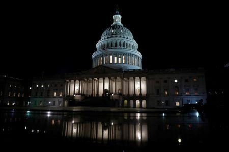 The United States Capitol is seen prior to an all night round of health care votes on Capitol Hill in Washington