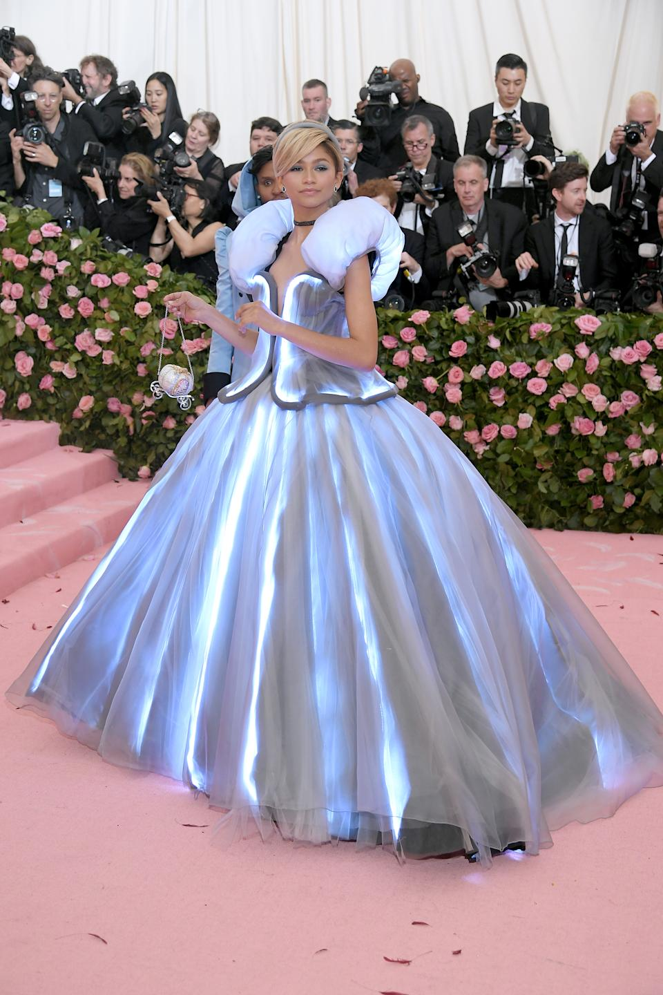 Zendaya truly lit up the night in an electric blue, Cinderella-themed gown which was quite literally electrified by LED lights throughout. Photo: Getty Images