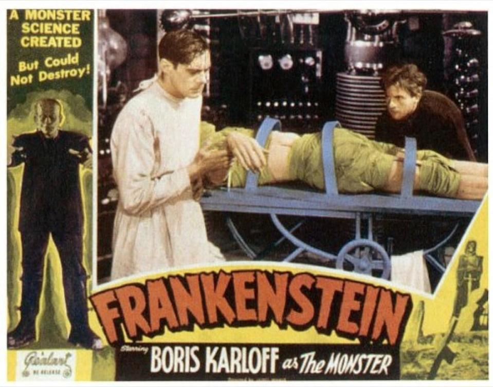 """When Dr. Frankenstein brings his creature to life in the 1931 horror masterpiece, <em>Frankenstein</em>, what does he start yelling? If your answer is """"He's alive! He's alive!,"""" well, sorry. What the good doctor actually shouts in celebration is, """"<em>It's</em> alive!"""" Which makes sense, as the monster is not technically a person. It's a bunch of different body parts that the doctor sewed together. For more random facts, <a href=""""https://bestlifeonline.com/newsletters/?utm_source=yahoo-news&utm_medium=feed&utm_campaign=yahoo-feed"""" rel=""""nofollow noopener"""" target=""""_blank"""" data-ylk=""""slk:sign up for our daily newsletter"""" class=""""link rapid-noclick-resp"""">sign up for our daily newsletter</a>."""