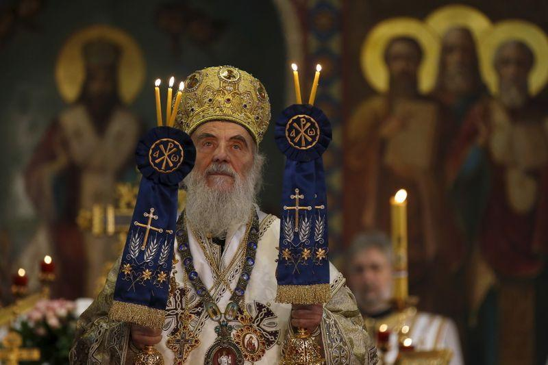 Serbian Patriarch Irinej conducts the liturgy on Orthodox Christmas in Saborna church in Belgrade