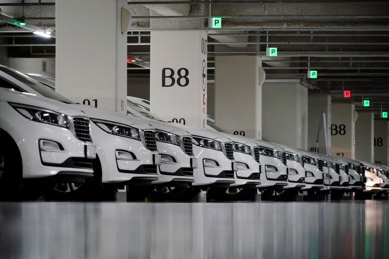 Vehicles of ride-hailing service operator Tada are seen parked at its garage in Seoul