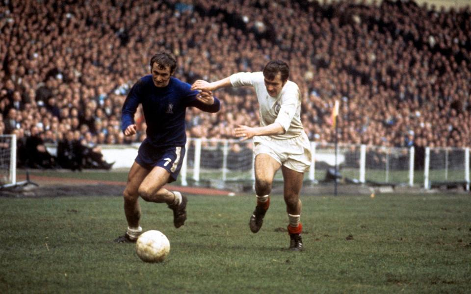 Cooper takes on Tommy Baldwin of Chelsea during the 1970 FA Cup final - Peter Robinson/EMPICS Sport