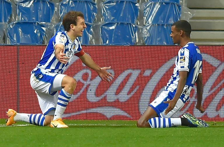 Dangerous duo: Real Sociedad's Mikel Oyarzabal (left) and Alexander Isak (right)will pose a threat to Manchester United