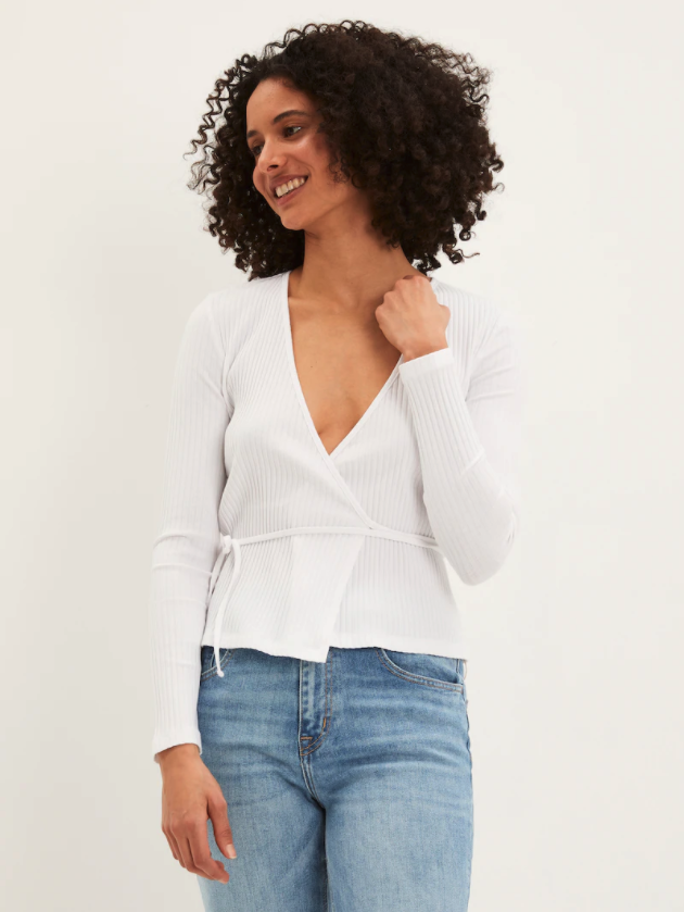 Cotton Mix Ribbed Wrap Top. Image via Frank And Oak.