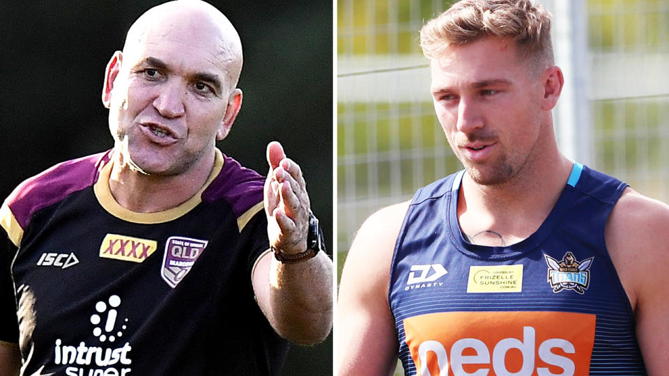 Gorden Tallis and Bryce Cartwright, pictured here at training with their NRL clubs.