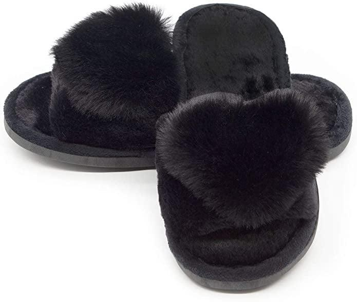 <p>And, if your wardrobe consists mainly of black, these <span>Fuzzy Fluffy Furry Fur Slippers</span> ($13) are for you.</p>