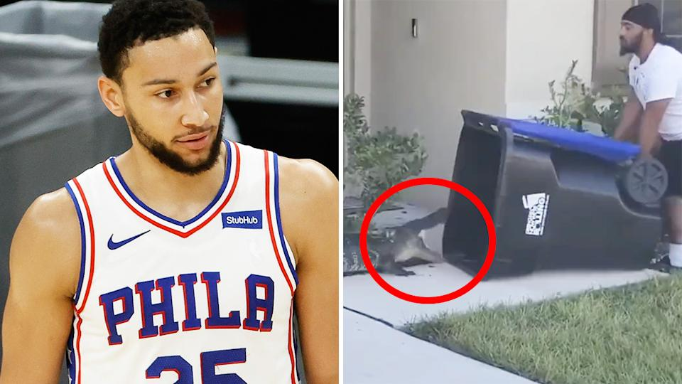 Ben Simmons has been copping criticism from all angles, but an alligator-capturing Philadelphia fan might have summed up the city's attitude towards the Aussie star perfectly. Pictures: Getty Images/Instagram