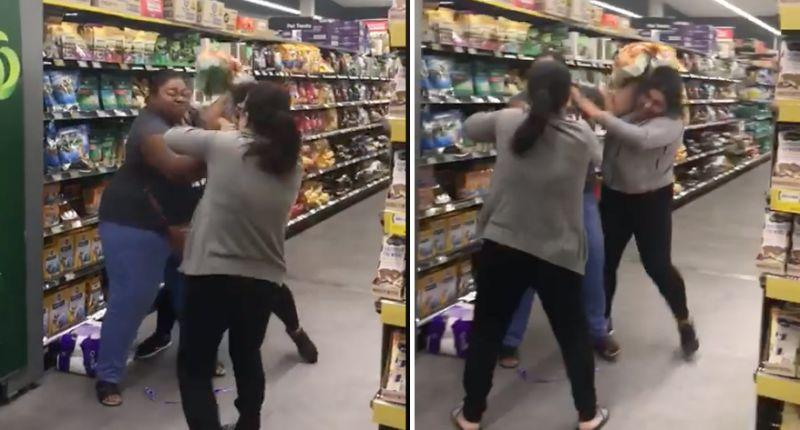Footage of three women fighting in a Woolworths supermarket Saturday.
