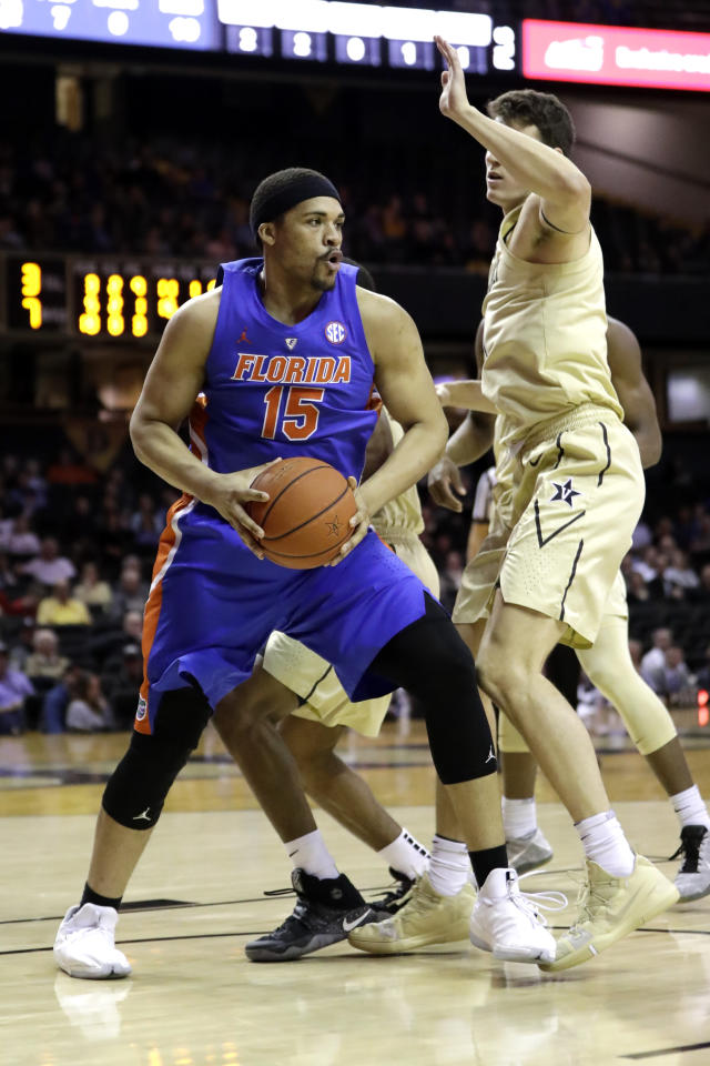 Florida forward Isaiah Stokes (15) plays against Vanderbilt in the first half of an NCAA college basketball game Wednesday, Feb. 27, 2019, in Nashville, Tenn. (AP Photo/Mark Humphrey)