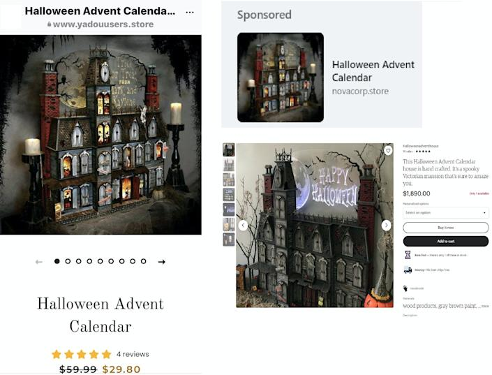 three screenshots featuring the same product image of a Halloween haunted house advent calendar sculpture