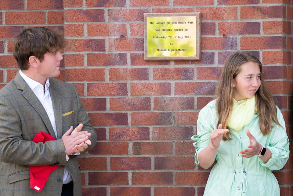 Benjie, left, and Georgia Ingram-Moore unveil a plaque at the Army Foundation College (PA Wire)