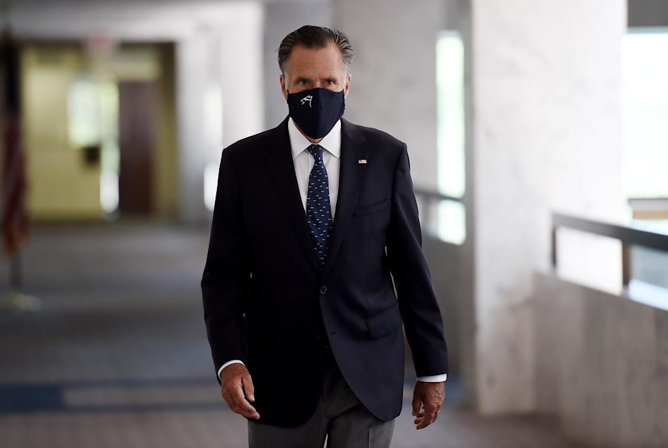 US Senator Mitt Romney, Republican of Utah, heads into a Republican policy lunch on Capitol Hill in Washington on July 21, 2020. (Photo by Olivier DOULIERY / AFP) (Photo by OLIVIER DOULIERY/AFP via Getty Images)