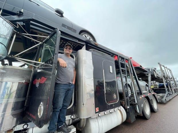Gary Stein is one of nearly 100 transport-truck drivers halted at the border. Steinis transporting vehicles from Ontario to Nova Scotia. (Shane Magee/CBC News - image credit)