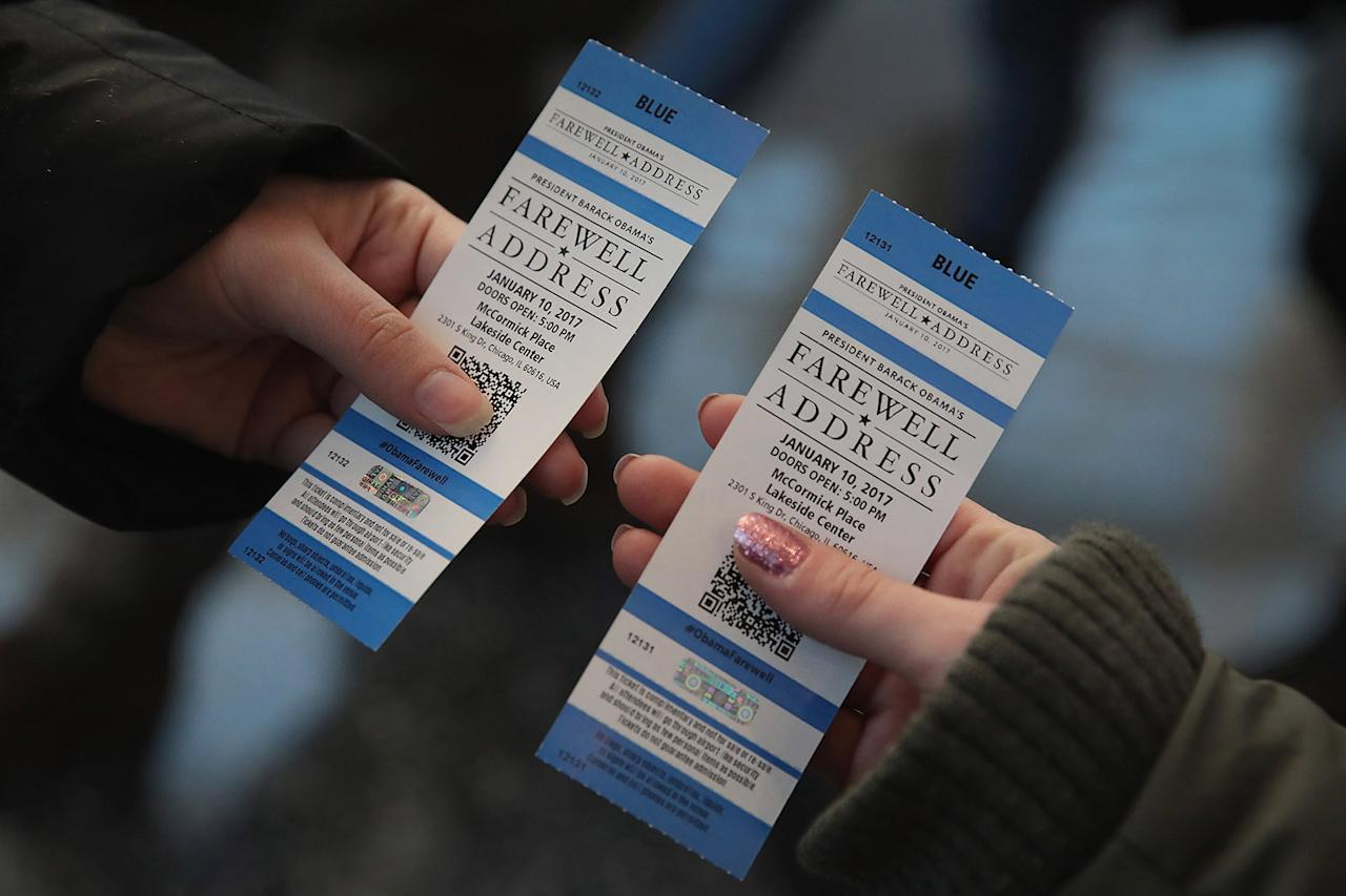 <p>People display tickets at McCormick Place for President Barack Obama's speech on Jan. 7, 2017 in Chicago, Illinois. Obama is scheduled to deliver a farewell speech to the nation in Chicago on Tuesday evening. (Photo: Scott Olson/Getty Images) </p>
