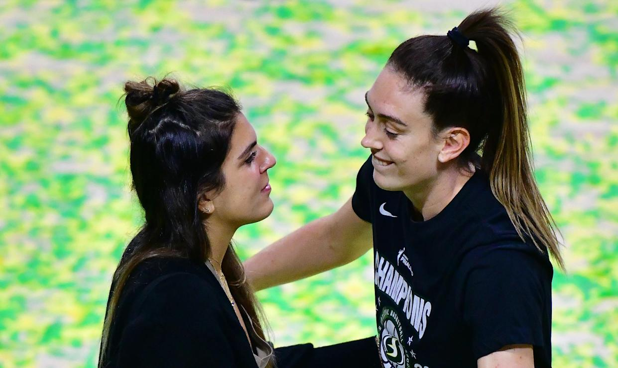 PALMETTO, FLORIDA - OCTOBER 06: Breanna Stewart #30 of the Seattle Storm hugs Marta Xargay after winning the WNBA Championship following Game 3 of the WNBA Finals against the Las Vegas Aces at Feld Entertainment Center on October 06, 2020 in Palmetto, Florida. NOTE TO USER: User expressly acknowledges and agrees that, by downloading and or using this photograph, User is consenting to the terms and conditions of the Getty Images License Agreement. (Photo by Julio Aguilar/Getty Images)