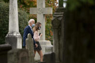 Democratic presidential candidate former Vice President Joe Biden goes to St. Joseph On the Brandywine Roman Catholic Church with his granddaughter Natalie Biden, right, and Finnegan Biden, right, Sunday, Oct. 25, 2020, in Wilmington. (AP Photo/Andrew Harnik)