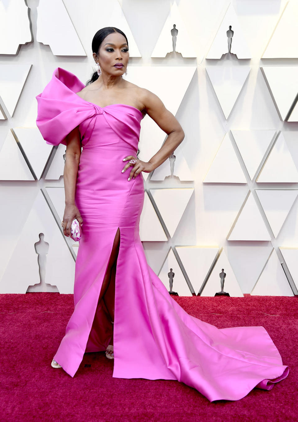 """<p>The """"Black Panther"""" star was right on trend in a pink Reem Acra gown with one shoulder detail. <em>[Photo: Getty]</em> </p>"""