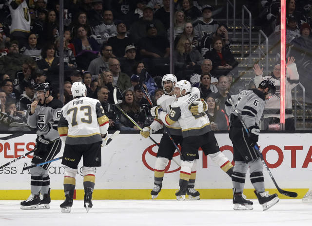 Vegas Golden Knights' Alex Tuch, center, celebrates his goal with teammate Paul Stastny (26) during the second period of an NHL hockey game against the Los Angeles Kings Saturday, Dec. 29, 2018, in Los Angeles. (AP Photo/Marcio Jose Sanchez)