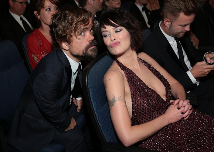 EXCLUSIVE - Peter Dinklage, left, and Lena Headey attend the 67th Primetime Emmy Awards on Sunday, Sept. 20, 2015, at the Microsoft Theater in Los Angeles. (Photo by Alex Berliner/Invision for the Television Academy/AP Images)