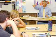 """<p>The CEO of Office Depot, Bruce Nelson, acts as """"Principal for a Day"""" at an elementary school in Delray Beach, FL. </p>"""