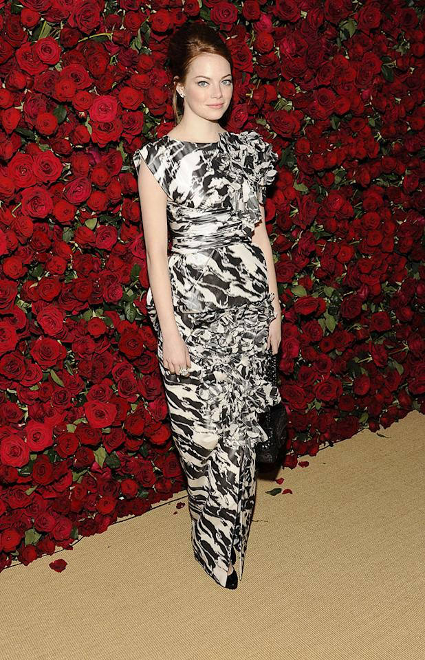"""<a href=""""http://movies.yahoo.com/movie/contributor/1809635883"""">Emma Stone</a> attends the Museum of Modern Art's 4th annual film benefit """"A Tribute to Pedro Almodovar"""" at the Museum of Modern Art on November 15, 2011 in New York City."""
