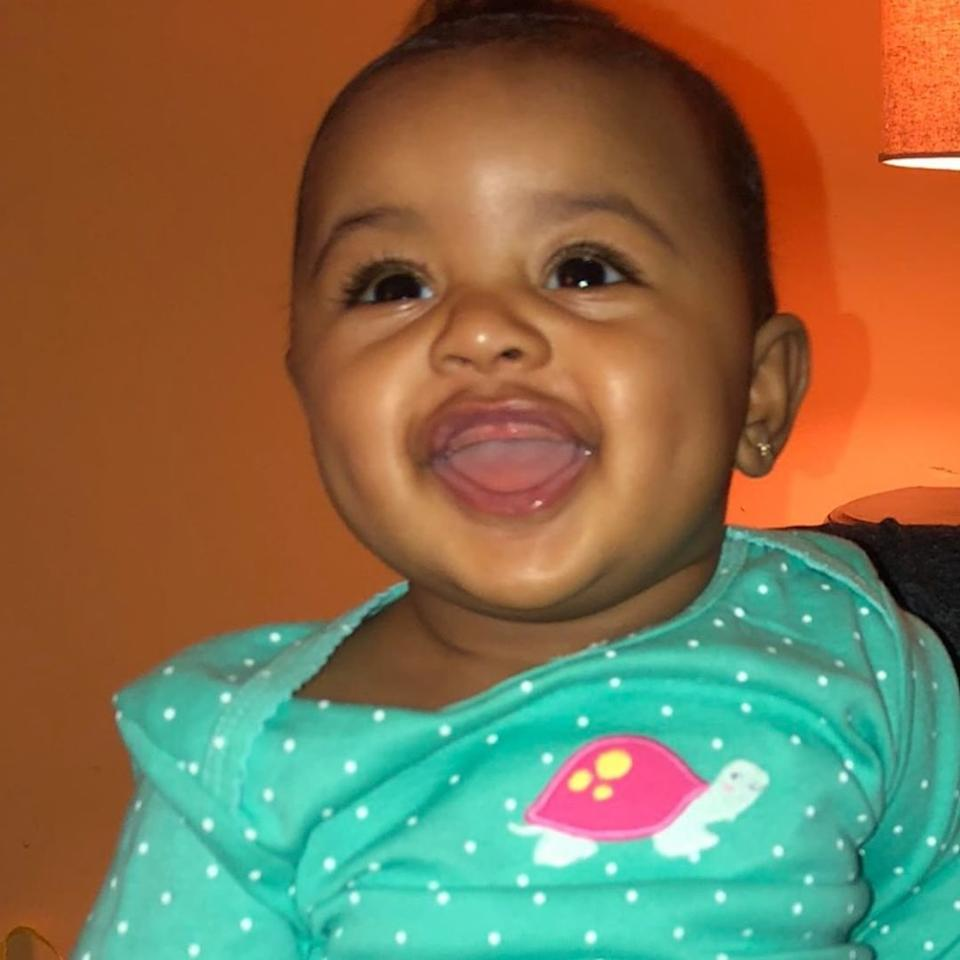 """All smiles! Cardi <a href=""""https://www.instagram.com/p/Bzr0iiIgeVu/"""">posted this photo</a> of baby Kulture showing off her toothless smile ahead of her 1st birthday!"""