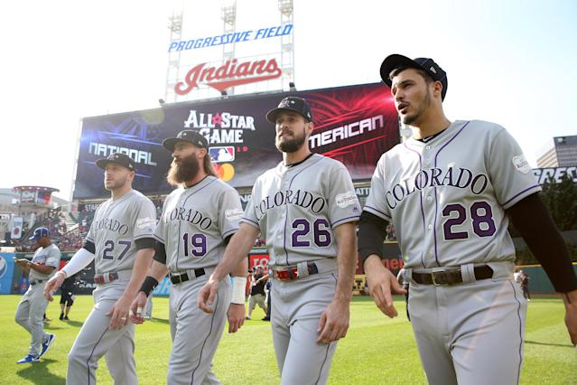 Trevor Story #27, Nolan Arenado #28, David Dahl #26 and Charlie Blackmon #19 of the Colorado Rockies are seen on the field prior to the 90th MLB All-Star Game at Progressive Field on Tuesday, July 9, 2019 in Cleveland, Ohio. (Photo by Rob Tringali/MLB Photos via Getty Images)