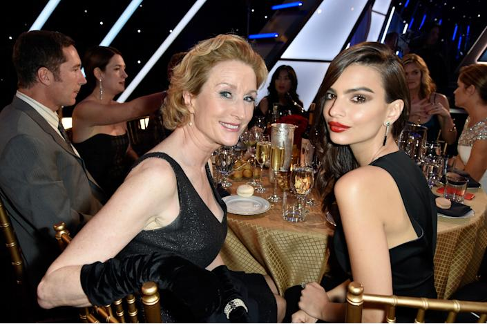 HOLLYWOOD, CA - NOVEMBER 14:  Actresses Lisa Banes (L) and Emily Ratajkowski attend the 18th Annual Hollywood Film Awards at The Palladium on November 14, 2014 in Hollywood, California.  (Photo by Frazer Harrison/Getty Images for DCP)