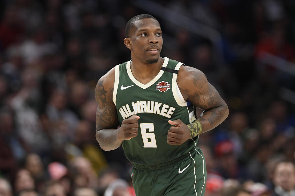 Milwaukee guard Eric Bledsoe returned to practice Friday after recovering from the coronavirus. (AP/Nick Wass)