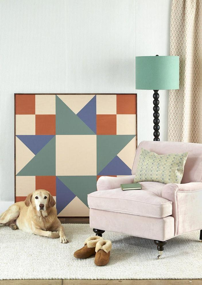 <p>A large-scale piece of painted plywood lends graphic punch to any space. First, cut a piece of plywood to desired size (ours is four feet square). Draw a quilt block (here, Twin Star–style) on the wood with pencil, using a ruler or painter's tape for straight lines, then paint with acrylic paint. Nail strips of 1/2-inch trim along the edges to finish. Lean or hang on the wall.<br></p>