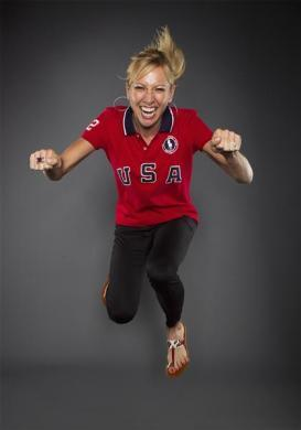 Cyclist Dotsie Bausch poses for a portrait during the 2012 U.S. Olympic Team Media Summit in Dallas, May 13, 2012.