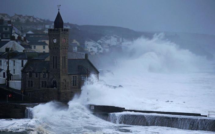 Waves break on January 30, 2021 in Porthleven, England - Getty Images Europe/Cameron Smith