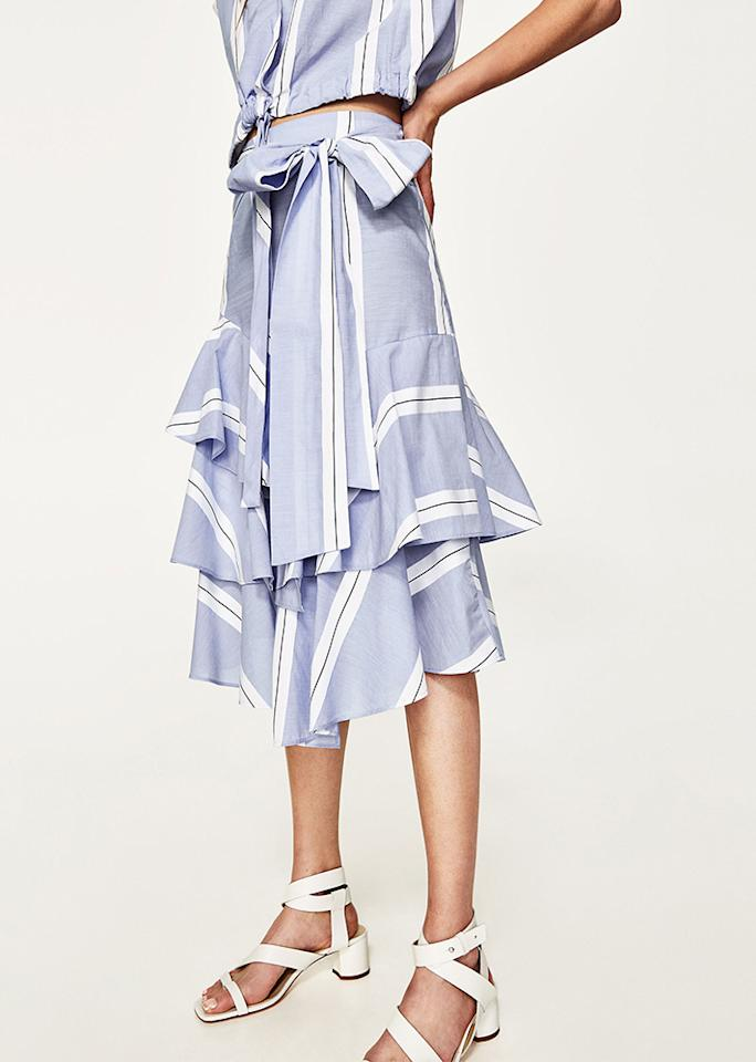 "Zara Striped Skirt with Frill, $49.90; at <a rel=""nofollow"" href=""https://www.zara.com/us/en/woman/new-in/striped-skirt-with-frill-c805003p4560039.html"">Zara</a>"