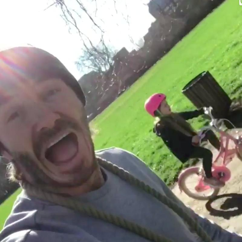David Beckham Is So Excited When Harper Rides a Bike by Herself For the First Time