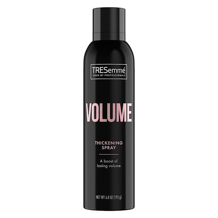 "<p><strong>Tresemme</strong></p><p>ulta.com</p><p><strong>$4.99</strong></p><p><a href=""https://go.redirectingat.com?id=74968X1596630&url=https%3A%2F%2Fwww.ulta.com%2Fvolume-thickening-spray%3FproductId%3Dpimprod2022685&sref=https%3A%2F%2Fwww.elle.com%2Fbeauty%2Fhair%2Fg35599042%2Ffall-2021-hair-trends%2F"" rel=""nofollow noopener"" target=""_blank"" data-ylk=""slk:Shop Now"" class=""link rapid-noclick-resp"">Shop Now</a></p>"